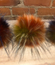 Load image into Gallery viewer, Rainbow Multi-Color Faux Finnish Raccoon Fur Pom Pom for Your Knit Hat
