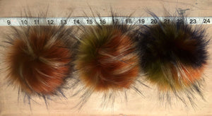 Rainbow Multi-Color Faux Finnish Raccoon Fur Pom Pom for Your Knit Hat