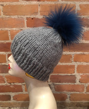 Load image into Gallery viewer, Teal Blue Faux Fur Pom Pom for Your Knit Hat