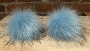 Sky Blue Faux Fox Fur Pom Pom for Your Knit Hat