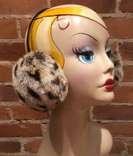 Load image into Gallery viewer, Cougar Faux Earmuffs, Spotted Light Beige and Black Handmade Winter Fur Accessory, Women's Winter Faux Fur Earmuffs, Winter Ear Warmers, elle Vintage