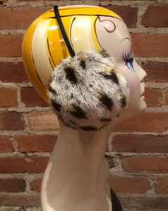 Cougar Faux Earmuffs, Spotted Light Beige and Black Handmade Winter Fur Accessory, Women's Winter Faux Fur Earmuffs, Winter Ear Warmers, elle Vintage