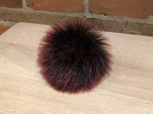 Small Faux Burgundy Fur Pom Pom