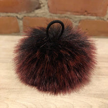 Load image into Gallery viewer, Small Faux Burgundy Fur Pom Pom