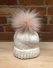 Load image into Gallery viewer, Small Pearl Powder Lavender Pink Faux Fox Fur Pom Pom