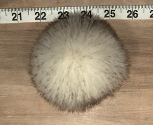 White Faux Chinchilla Fur Pom Pom, with Brown Tip Accents for Your Knit Hat