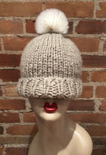 Load image into Gallery viewer, White Faux Chinchilla Fur Pom Pom, with Brown Tip Accents for Your Knit Hat