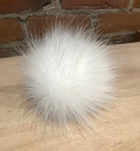 Load image into Gallery viewer, Snow White Faux Fox Fur Pom Pom - 4-Inch