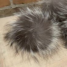 Load image into Gallery viewer, Silver Grey Fox Fur Pom Pom, 3-5-Inch