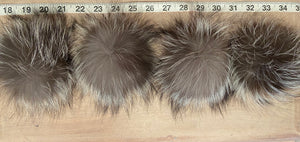 Silver Grey Fox Fur Pom Pom, 3-5-Inch