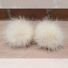 Load image into Gallery viewer, Ivory Mink Fur Pom Pom Post Earrings