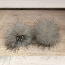 Load image into Gallery viewer, Light Grey Silver Mink Pom Pom Post Earrings