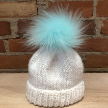 Load image into Gallery viewer, Light Aqua Blue Green Faux Fur Pom Pom, 3.5-Inch