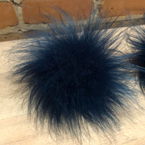 Small Teal Blue Faux Fur Pom Pom