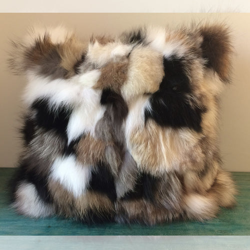 Patchwork Fox Pillow, Fox Fur Pillow Cover, 18
