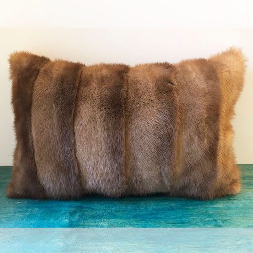 Fur Pillow Cover, 18 x 12 Light Honey Brown Mink Real Fur Pillow Cover, Beige Brown Pillow Cover, Gold Pillow Cover, Recycled Vintage Fur, elle Vintage