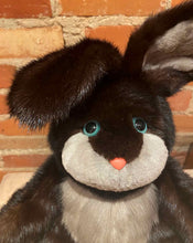 Load image into Gallery viewer, Close Up View of Black and Grey Mink Fur Handmade Rabbit