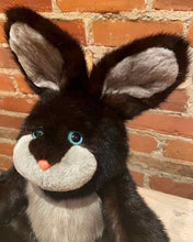 Load image into Gallery viewer, Rupert the Black Bunny Teddy Bear Looking Sad