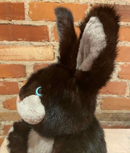 Load image into Gallery viewer, Sideview of Rabbit Teddy Bear with Black and Silver Mink Fur and Pink Nose