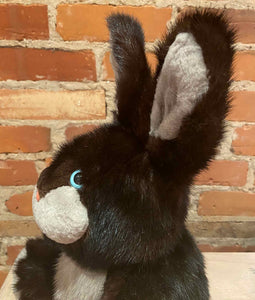 Sideview of Rabbit Teddy Bear with Black and Silver Mink Fur and Pink Nose