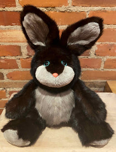 Brown Black Collectible Vintage Fur Bunny with Grey Mink Ears