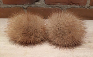 Mink Fur Pom Pom, 2 Inch, Honey Gold Mink, Mini Mink Pom, Baby Hat, Scarf Pom, Craft Supply, Crochet Accessory, Loop Attachment, Detachable