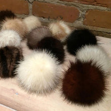 Load image into Gallery viewer, Real Mink Mini Pom Pom - Various Color Options, 2-Inch