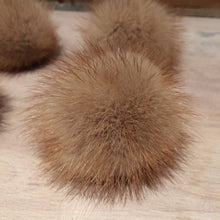 Load image into Gallery viewer, Mink Fur Pom Pom, 2 Inch, Honey Gold Mink, Mini Mink Pom, Baby Hat, Scarf Pom, Craft Supply, Crochet Accessory, Loop Attachment, Detachable