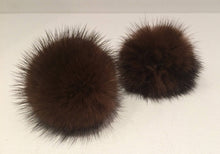 Load image into Gallery viewer, Chocolate Brown Mink Pom Pom Scrunchie Hair Tie