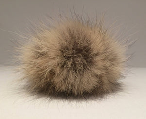 Beige Coyote Fur Scrunchie Pom Pom Hair Tie