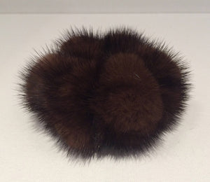 Chocolate Brown Mink Pom Pom Scrunchie Hair Tie
