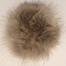 Load image into Gallery viewer, Beige Coyote Fur Scrunchie Pom Pom Hair Tie