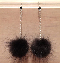 Load image into Gallery viewer, Black Mink Fur Pom Pom Sterling Silver Earrings with Genuine Swarovski Crystal Beads