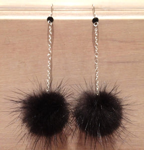 Black Mink Fur Pom Pom Sterling Silver Earrings with Genuine Swarovski Crystal Beads