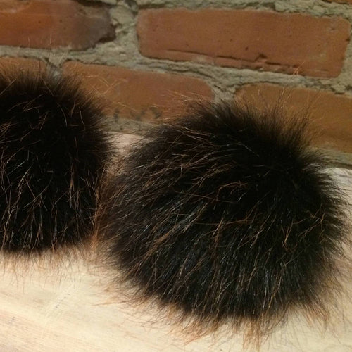Copper Black Fur Ball, Faux Fur Pom Pom, 5 Inch, Black with Wispy Copper Tip Accents, Knit Hat Winter Accessory, Knitting Supply, Detachable, ellevintage.com