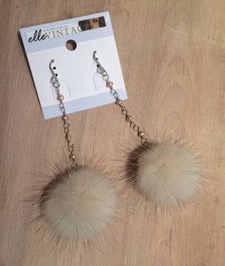 Violet Mink Fur Pom Pom Sterling Silver Dangle Earrings with Freshwater Pearl Accents