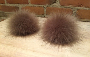 Golden Taupe Faux Fox Fur Pom Pom, 3.5-Inch