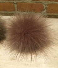 Load image into Gallery viewer, Golden Taupe Faux Fox Fur Pom Pom, 3.5-Inch