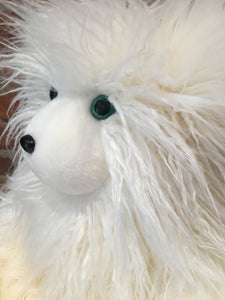 Briette, the Faux Fur White Curly Mongolian Lamb Teddy Bear