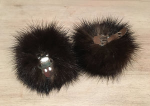 Mink Shoe Poms Poms, Dark Brown Recycled Mink Fur Shoe Pom Accessories, Pair of 2-Inch Clip-On or Loop Attachment Vintage Real Fur Shoe Poms, elle Vintage
