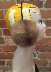 Gold Beige Mink Fur Winter Earmuffs