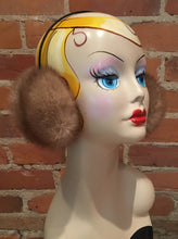 Load image into Gallery viewer, Gold Beige Mink Fur Winter Earmuffs