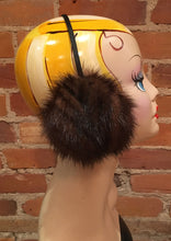 Load image into Gallery viewer, Striped Mahogany Brown Mink Fur Earmuffs