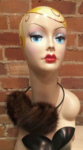 Striped Mahogany Brown Mink Fur Earmuffs