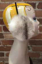 Load image into Gallery viewer, Ivory with Black Fleck Accents Natural Mink Fur Earmuffs