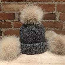 Load image into Gallery viewer, Creamy Sugar Beige Fox Fur Hat Pom Pom, 3.5-Inch