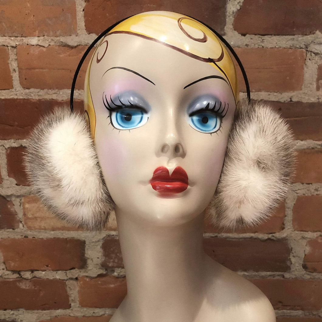 Ivory with Black Fleck Accents Natural Mink Fur Earmuffs