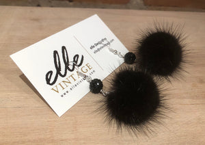 Jet Black Mink Fur Pom Pom Silver Dangle Earrings with Sparkly Bead Accents