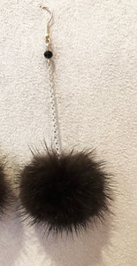 Natural Black Mink Fur Pom Pom Silver Dangle Earrings with Black Crystal Beads