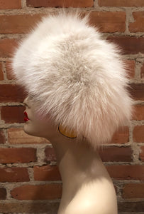 Beige Recycled Fox Fur Women's Winter Headband